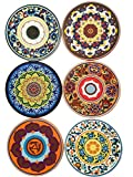 LUX Essentials Mosaic Silicone Drink Coasters - Package of 6 Non-Skid Absorbent Drink Coasters