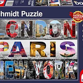 Schmidt Spiele- Puzle de 1000 Piezas de Londres, París, Nueva York, Color carbón (58348)