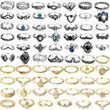 ONESING 69 Pcs Knuckle Rings for Women Stackable Rings Set Girls Bohemian Retro Vintage Joint Finger Rings Hollow Carved Flowers