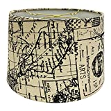 Royal Designs Linen Cream and Black Vintage Map Postcard Hardback Lamp Shade, 11 x 12 x 8.5