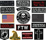 POW MIA   Dont Tread On Me   FTW   American Flag   Hoodlum   Cross   John 3:16 Small Top Rocker   Religious/Christian   Military Patches  16 Pc. Embroidered Large Patch Set   - by Nixon Thread Co.