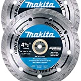 Makita 2 Pack - 4.5 Turbo Diamond Blades For Grinders & Circular Saws - Ultra-Fast Cutting For Concrete, Masonry & Brick - 5/8, 20mm & 7/8 Arbors