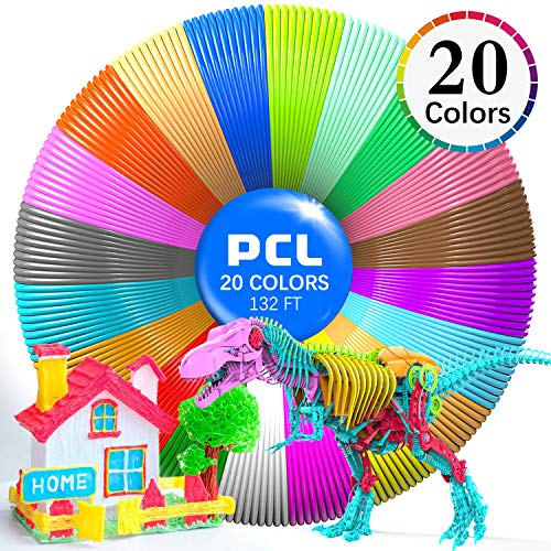 3D Printing Pen PCL Filament Refills 1.75mm, Pack of 20 Colors Glow in The Dark, Low Melting Temp of 70, High-Precision Diameter, Non-Toxic Non-Clogging, Gifts for Kids(132 FT)