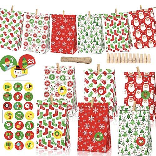 MEIRUIER 24 Pcs DIY Calendario de Adviento Navidad, Bolsas d