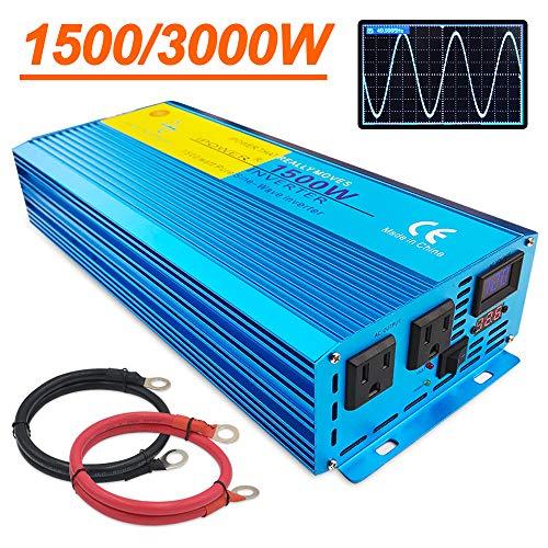IpowerBingo インバーター 正弦波 12V 1500W 最大 3000W DC 12V(直流)AC100V(交流)変換 50HZ 60HZ カー...