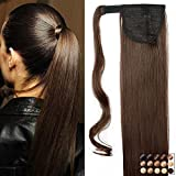 23' Queue de Cheval Postiche Extension de Cheveux Lisse - Cheveux Synthetique - Marron (58cm-120g)