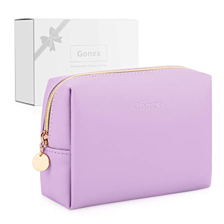 purple pretty make-up bag leather