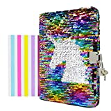 VIPbuy Magic Reversible Unicorn Sequin Notebook Diary Lined Travel Journal with Lock and Key for Kids Girls, Size A5 (8.5' x 5.5'), 78 Sheets