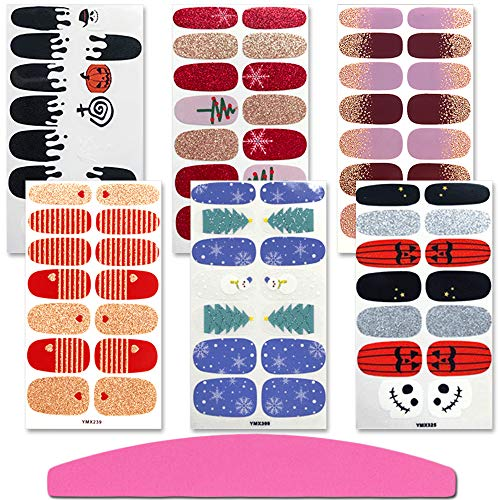 SILPECWEE 6 Sheets Adhesive Nail Art Polish Stickers Holiday Pack Christmas Nail Wraps Decals Strips Set Manicure Decoration and 1Pc Nail File