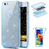 iPhone 6 Case,iPhone 6S Case,PHEZEN [Full Body Coverage] Front and Back 360 Degree Protective Case Bling Glitter Sparkly Shockproof Ultra Thin TPU Silicone Gel Case Cover for iPhone 6 6S 4.7' (Blue)