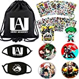 My Hero Academia Bag Gift Set - 1 My Hero Academia Drawstring Bag, 2 Face Masks, 12 Sheet Stickers, 4 Button Pins, 1 Keychain, 1 Phone Ring Holder for Anime My Hero Academia Fans