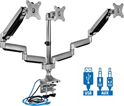 Mount-It! Triple Monitor Mount   Desk Stand with USB and Audio Ports   3 Counter-Balanced..
