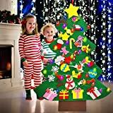 4 Ft Led Felt Christmas Tree for Toddler Kids DIY Christmas Tree Snowman Decorations with 30 Ornaments 10ft Multi-Colored String Light Christmas Wall Hanging Decor Xmas Kids Gifts Party Supplies