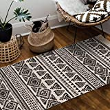 Seavish Cotton Printed Rug, 2'W x 4.4'L Decorative Black and Cream Tribal Kilim Small Area Rug Hand Woven Rug for Entryway Thin Runner Throw Rugs for Laundry Room Living Room Dorm