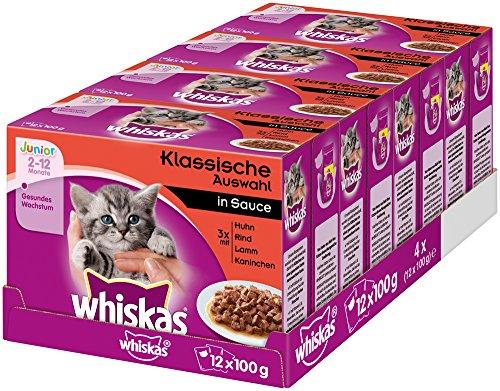 Whiskas Katzenfutter Junior in Sauce – Ausgewogenes Feuchtfutter für...