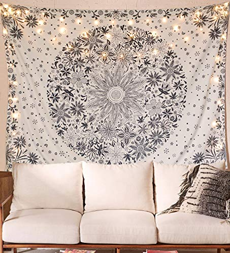 Neasow Bohemian Tapestry Wall Hanging, Beige White Floral...