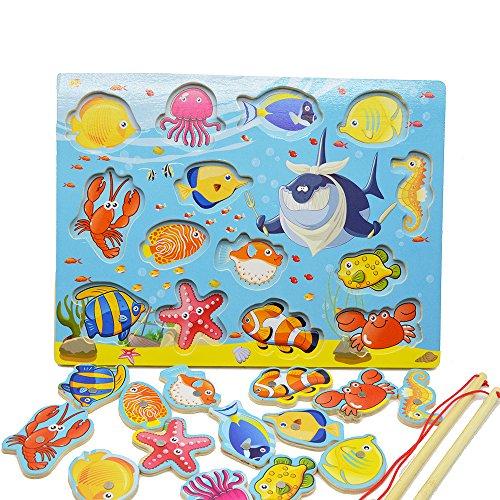 Tabella di Gioco Magnetico di Gioco del Puzzle del Gioco di Pesca di Sviluppo di Pesci 14 pezzi, Puzzle Magnetico Legno, Giocattolo di Legno,Compleanno dei Giocattoli per il Bambino dei Bambini
