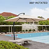 Mefo garden 10 by 10-Feet Classic Offset Patio Umbrella, 360° Rotated Cantilever Umbrella with Tilt System for Outdoor Parties, Courtyard with Cross Base, Aluminum, 250gsm Square Canopy, Beige