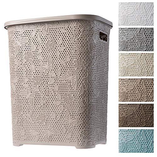 KADAX Wäschekorb, Wäschetruhe mit Deckel aus Kunststoff, Wäschesammler, Wäschesortierer für Bad, Kleidung, Spielzeug, Verzierungen, durchbrochenes Muster, 55l, leicht (beige)
