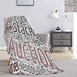 Luoiaax Video Game Commercial Grade Printed Blanket Collection of Words Noob Guide Text Wordcloud Concept at Role Playing Game Queen King W60 x L50 Inch White Gray Pink
