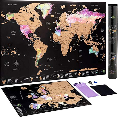 Carte du Monde à gratter + Carte à gratter de l'Europe en Bonus - Carte...