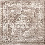 Unique Loom Sofia Collection Traditional Vintage Square Rug, 6', Light Brown/Tan