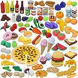135pcs Corte de Frutas y Alimentos Verduras Pizza Juego de Plástico para Niños 3 Años, Accesorios...
