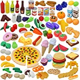 JOYIN Jeu de Cuisine 135 Pièces de Cuisine pour Marché Jeu de Simulation de Marché, Jeu de Cuisine, Accessoires de Cuisine Faux Aliments, Fournitures de Fête, Vacances