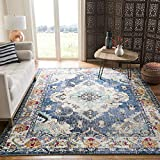 Safavieh Monaco Collection MNC243N Boho Chic Medallion Distressed Area Rug, 6' 7' x 9' 2', Navy/Light Blue