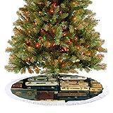 Falda de árbol de Navidad grande colorida vintage maleta de cuero antiguo decorativo de viaje mapa nostalgia marrón decoración de día festivo adornos para Navidad fiesta decoración – 92 cm
