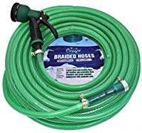 3 Layered All Weather PVC Braided Water Pipe Size : 1/2 inch( 0.50 Inch) - Length : 20 m(65 Feet) - Includes 8 Mode Nozzle Spray, 1/2 inch tap connector and 3 clamps for leak proof operations Used in Gardening, Car and Bike Wash, Pet Bath, Floor Clea...