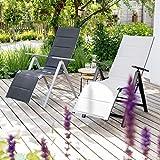 Vanage gepolsterter Gartenstuhl mit Fußableger in schwarz – Klappstuhl für Garten, Terrasse und Balkon geeignet - 6