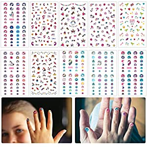 Convenient: the nail stickers is self-adhesive, it is the most convenient way to decorate nails. Variety designs: 500+ pieces unicorn nail stickers (totally 10 sheets) include unicorn, bowknot, cup cake, ice cream, cake, star, crown, heart, rainbow, ...