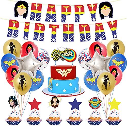 Wonder Woman Decorazioni per feste di compleanno 44 PCS Tema Wonder Woman Forniture per striscioni di buon compleanno Toppers per torta Kit di decorazioni per palloncini per ragazzi Ragazze Bambini