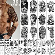❥[LARGE SIZE & MUCH QUANTITY]] Large size half arm tattoo stickers can cover your body parts larger, size is 9.45 * 6.69 inch (24 * 17cm) 12 sheets, 4.1 * 2.4 inch (10.5 * 6cm) 24 sheets .You can share it with your family and friends. ❥[WATERPROOF & ...