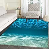 Ocean Floor Mat Pattern Gravelly Bottom Wavy Surface Tropical Seascape Abyss Underwater Sunny Day Image Living Dinning Room & Bedroom Mats 5'x6' Blue Aqua Ivory