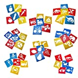 Tebery Lot de 48 Pochoir de Dessin en Plastique Gabarits de Peinture...