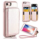ZVE Case for Apple iPhone 8 and iPhone 7, 4.7 inch, Leather Wallet Case with Credit Card Holder Slot Zipper Wallet Pocket Purse Handbag Wrist Strap Case Cover for Apple iPhone 8/7 - Rose Gold