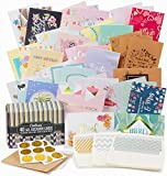 Cortesia All Occasion Greeting Cards Assortment - 40 UNIQUE DESIGNS with GOLD and SILVER EMBELLISHMENTS, Box set incl. Natural Linen Color Envelopes with Printed Patterns and Kraft Paper Cards