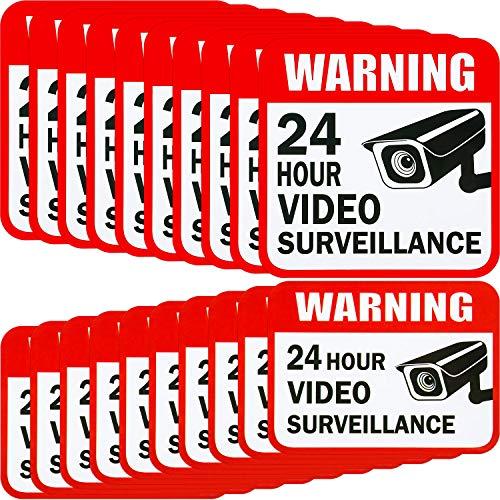 20 Pezzi Decalcomania del Segno dell'Autoadesivo di Videosorveglianza 2 Taglia per Adesivi Sistemi di Allarme per Casa d'Affari, 5 x 5 Pollici e 3 x 4 Pollici Adesivo 24 Ore Segnali di Sicurezza