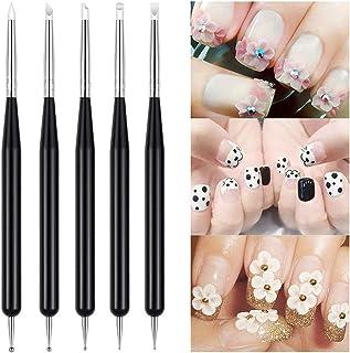 5Pcs Pincel para arte de uñas Nail Art Arte Diseño Dotting Pen Cepillo pinceles para decoración de uñas, acrílico pintura ...