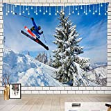 Batmerry Cool Tapestry, Extreme Skiing Picnic Mat Hippie Trippy Tapestry Wall Art Meditation Decor for Bedroom Living Room Dorm, 51.2 x 59.1 Inches, Blue White