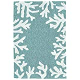 Liora Manne Capri Coastal Coral Border Aqua Indoor/Outdoor Rug, 1'8' x 2'6'