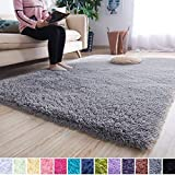 Noahas Super Soft Modern Shag Area Rugs Fluffy Living Room Carpet Comfy Bedroom Home Decorate Floor Kids Playing Mat 5.3 Feet by 7.5 Feet, Grey