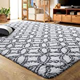 LOCHAS Luxury Velvet Shag Area Rug Mordern Indoor Plush Fluffy Rugs, Extra Soft and Comfy Carpet, Geometric Moroccan Rugs for Bedroom Living Room Girls Kids Nursery (4x5.9 Feet, Grey/White)