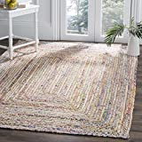 Safavieh Cape Cod Collection CAP202B Hand-woven Jute & Cotton Area Rug, 5' x 8', Beige/Multi