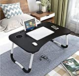 ARDAKI® Multipurpose Laptop Table with Cup and Mac Holder Study Table, Breakfast Table, Portable/Ergonomic & Rounded Edges Dock Stand & Non-Slip Legs Foldable and Portable Space Saving Lapdesk Bed
