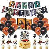 Xinqin Naruto Fête dAnniversary Ballon Décorations, Japonais Anime Thème Manga Noir...