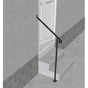 Iron X Handrail Door 2 20 Wall Floor Mounted Handrail | Brushed Nickel Stair Railing | Horizontal | Farmhouse | Matte Finish | Light Dark Wood | Hallway