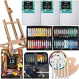 Juego de 40 piezas de pintura acrílica Meeden, caballete de mesa de madera, paneles de lona, juego de pinceles de acrílico, 24 tubos de pintura, paleta de pintura de madera, regalo para niños